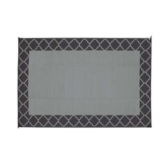 Patio Mat, Polypropylene, Trellis Design, 9x12, Black/Gray