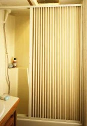 Pleated Shower Door, Ivory - Up to 60