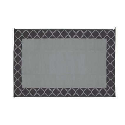 Patio Mat, Polypropylene, Trellis Design, 9x12, Black/Grey