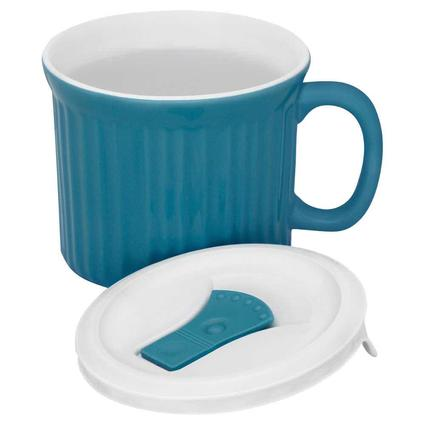 CorningWare 20-oz Mug with Vented Lid, Blue