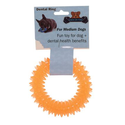 Pet Dental Ring, Medium, Orange