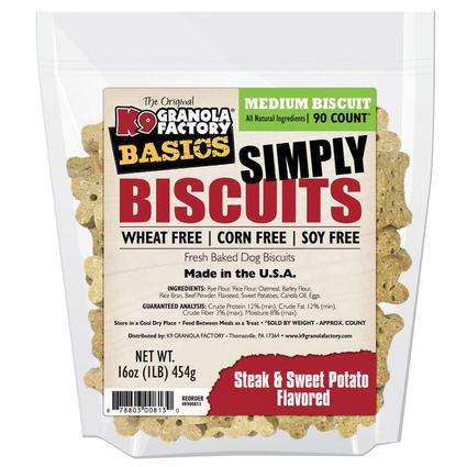 Simply Biscuits Medium Steak and Potato Dog Treats, 16 oz. Bag
