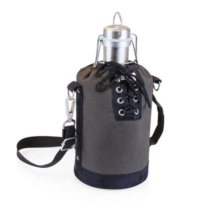 Growler Tote - Grey and Black with 64-oz. Stainless Steel Growler