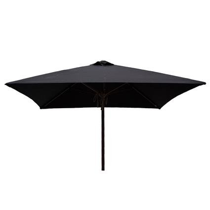 Classic Wood Square Patio Umbrella - Black, 6.5'