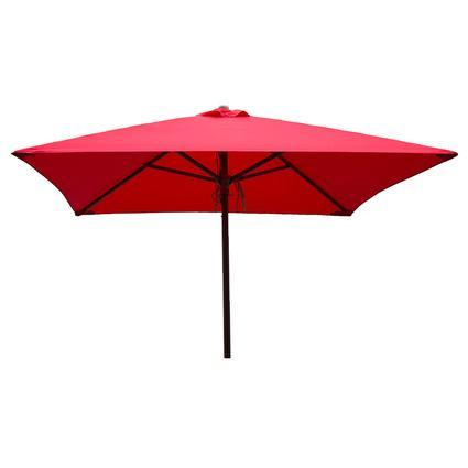 Classic Wood Square Patio Umbrella - Red, 6.5'