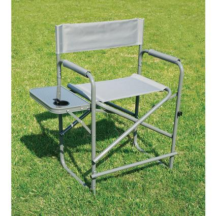 Tall Gray Directors Chair with Solid Footrest
