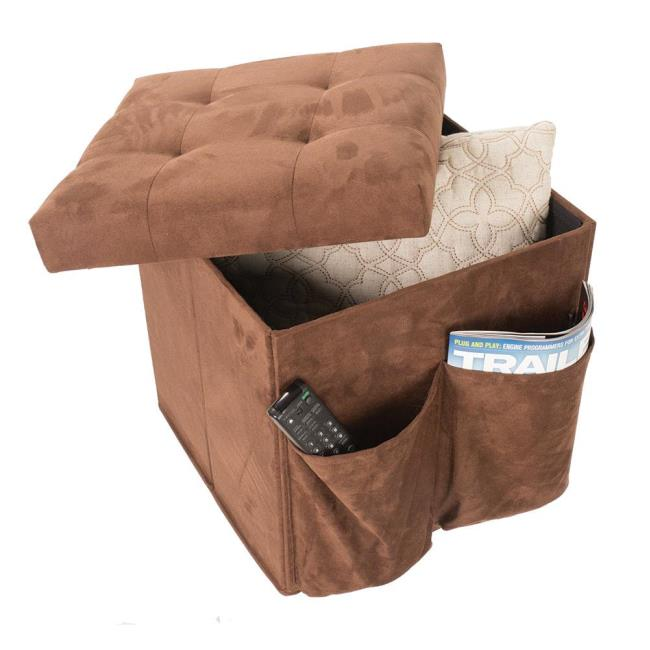 Tufted Top Storage Ottoman Brown Enchanted Home Pet CO281816BRN
