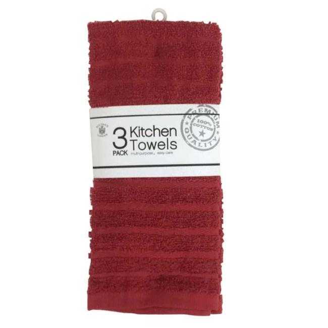 Image 100% Cotton Kitchen Towels, Burgundy, 3 Pack. To Enlarge The .