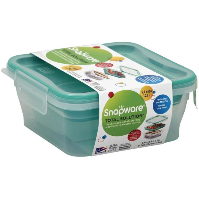 Image Snapware Total Sol Plastic, 5.4 Cups, Square With Divided Tray. To  Enlarge .