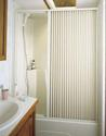 Pleated Shower Door, White - Up to 36
