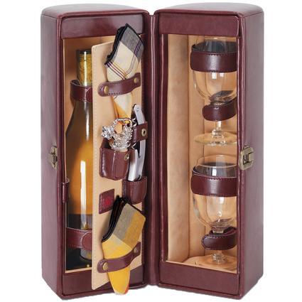 Harmony Wine Cooler- Burgundy w/Tan stripes