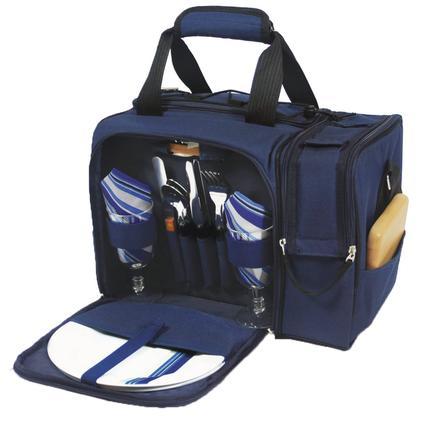 Malibu Picnic Basket - Navy w/Blue and Gray Stripe