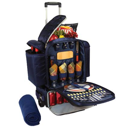 Excursion Picnic Basket- Navy w/Burgundy Plaid