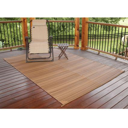 Brown Stripe Patio Mat, 9' x 12'