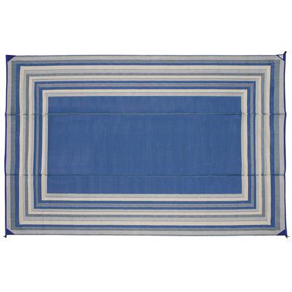 Patio Mat, Polypropylene, Striped Design, 9x12, Blue