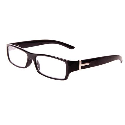 Men's Black and Silver Reading Glasses, +125