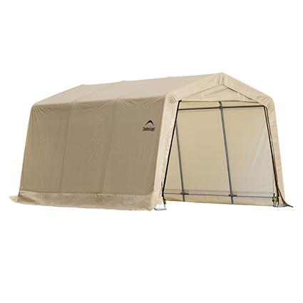 Auto Shelter 10 x 20, Peak Style Frame, Sandstone Cover