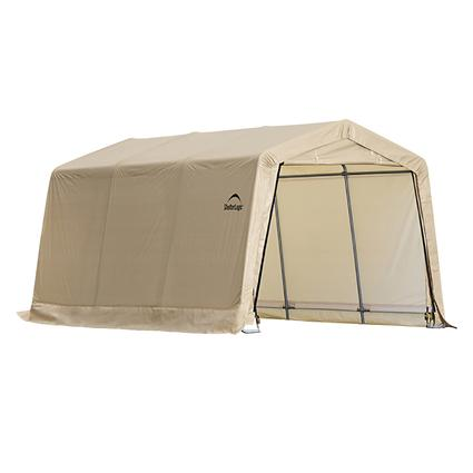 Auto Shelter 10 x 15 x 8 Peak Style Frame, Sandstone Cover