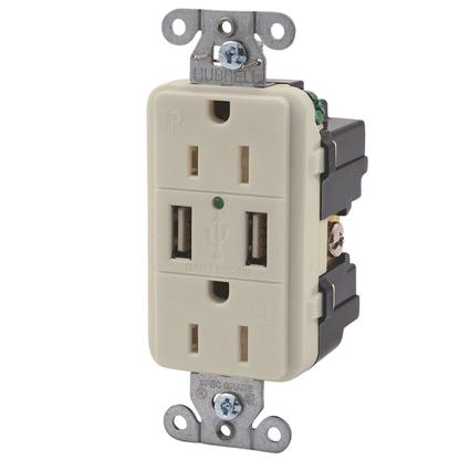 Double USB Charger with Double 110v outlet - Almond