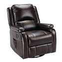 Swivel Glider Recliner with Remote Massage, Chocolate
