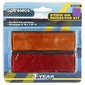Pair Rectangular Reflectors Kit self-adhesive, Amber and Red