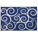 Reversible Patio Mats, 6' x 9' Swirl Design Navy/Cream
