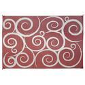 Reversible Patio Mats, 9' x 12' Swirl Design Terracotta/Cream