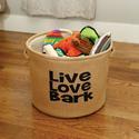 Live, Love, Bark, Burlap Storage Baskets, Large