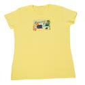 Womens Paradise Found Postcard Tee, Yellow XXL