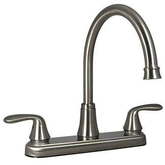 Kitchen 2 Handle Faucet, Brushed Nickel Finish