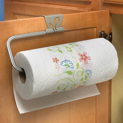 Leaf Over-Cabinet Paper Towel Holder, Satin Nickel Finish