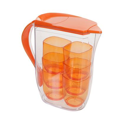 Clear Pitcher & 6 Cup Set, Orange