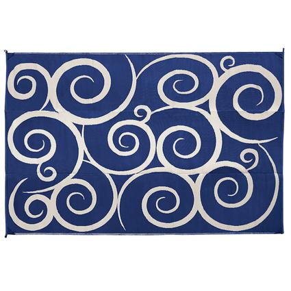 Reversible Patio Mats, 9' x 12' Swirl Design Navy/Cream