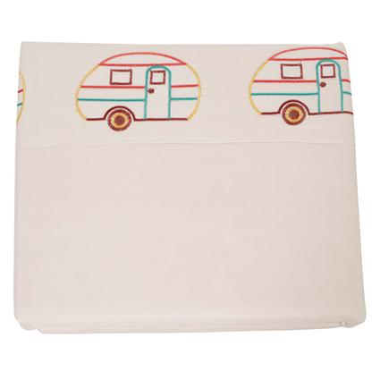 Microfiber Camping Theme Sheets, White with Vintage RV, Bunk