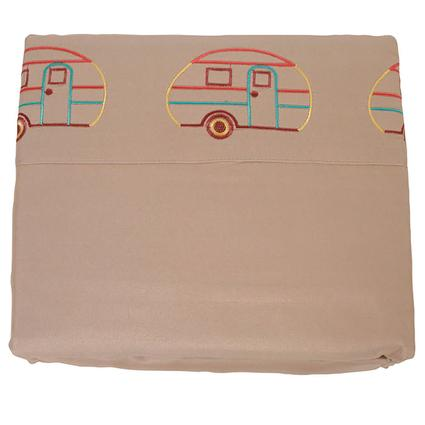 Microfiber Camping Theme Sheets, Taupe with Vintage RV, Queen