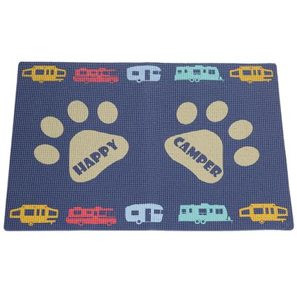 happy camper dog bowl mat