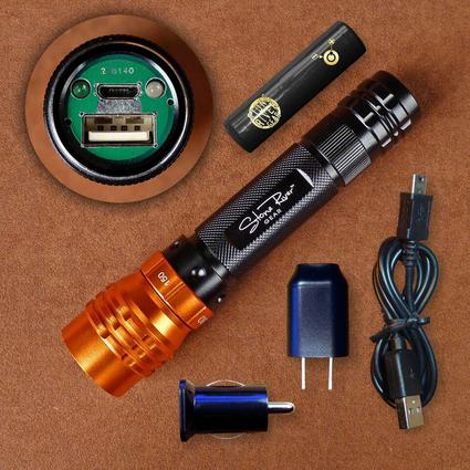 Adjustable Focus Rechargeable USB LED Flashlight