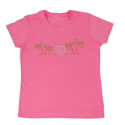 Womens Bright Palms Tee, Pink Medium