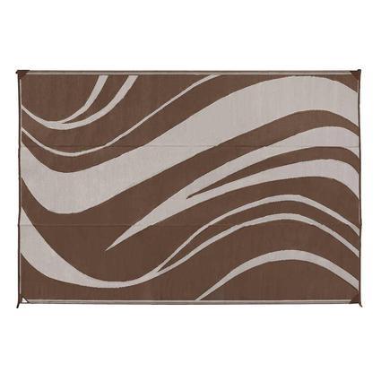 Reversible Wave Design Patio Mat, 9 x 12, Brown