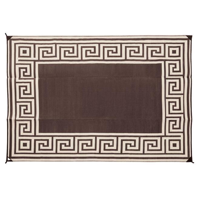 Image Reversible Greek Design Patio Mat, 9u0026apos X 12u0026apos, Coffee Brown. To  Enlarge .