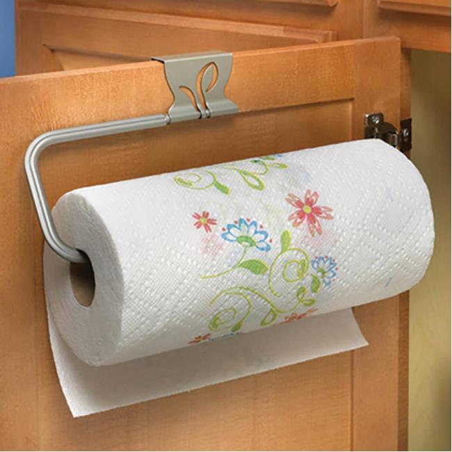 Image Leaf Over Cabinet Paper Towel Holder, Satin Nickel Finish. To Enlarge  The .