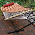 Cotton Rope Hammock, Stand, Pad and Pillow Combination, Red