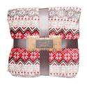 Velvet Holiday Blanket, 90 x 90, Snowflake, Red and Gray, Full/Queen