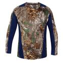 Realtree Men's Long Sleeve Active Tee, Navy, Medium