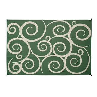 Reversible Swirl Design Patio Mat, 6x9, Green/Cream