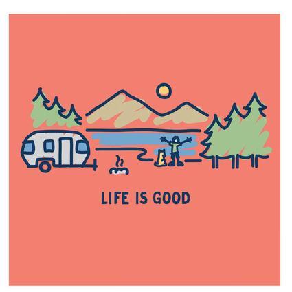 Women's Life Is Good Airstream Vista Crusher Tee, Coral Orange, Large