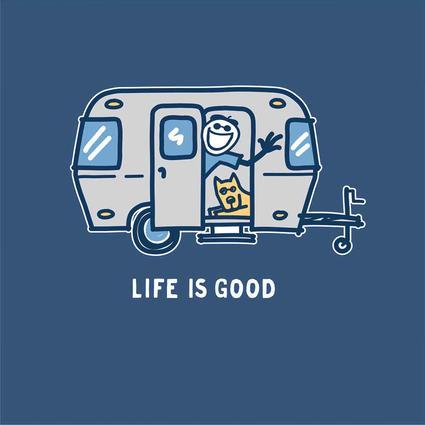 Womens Life Is Good Airstream Hello Crusher Tee, Darkest Blue, Large