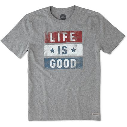 Men's Life is Good Stars and Stripes Tee, XXL