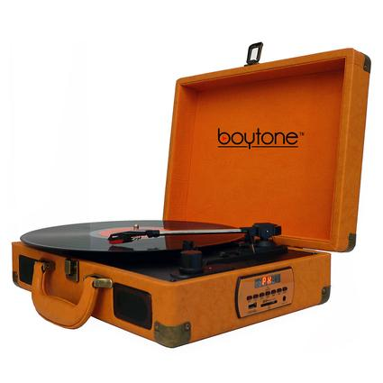 5-in-1 Suitcase Style Turntable, Orange