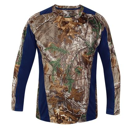 Realtree Men's Long Sleeve Active Tee, Navy, Large